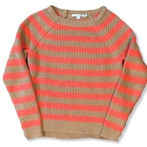 Boden Striped Coral and Tan Cable Knit Sweater 2